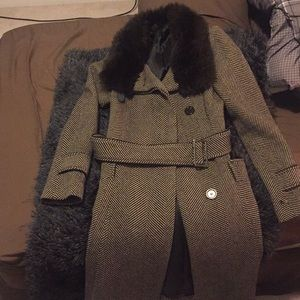 Zara women's size S brown herringbone coat